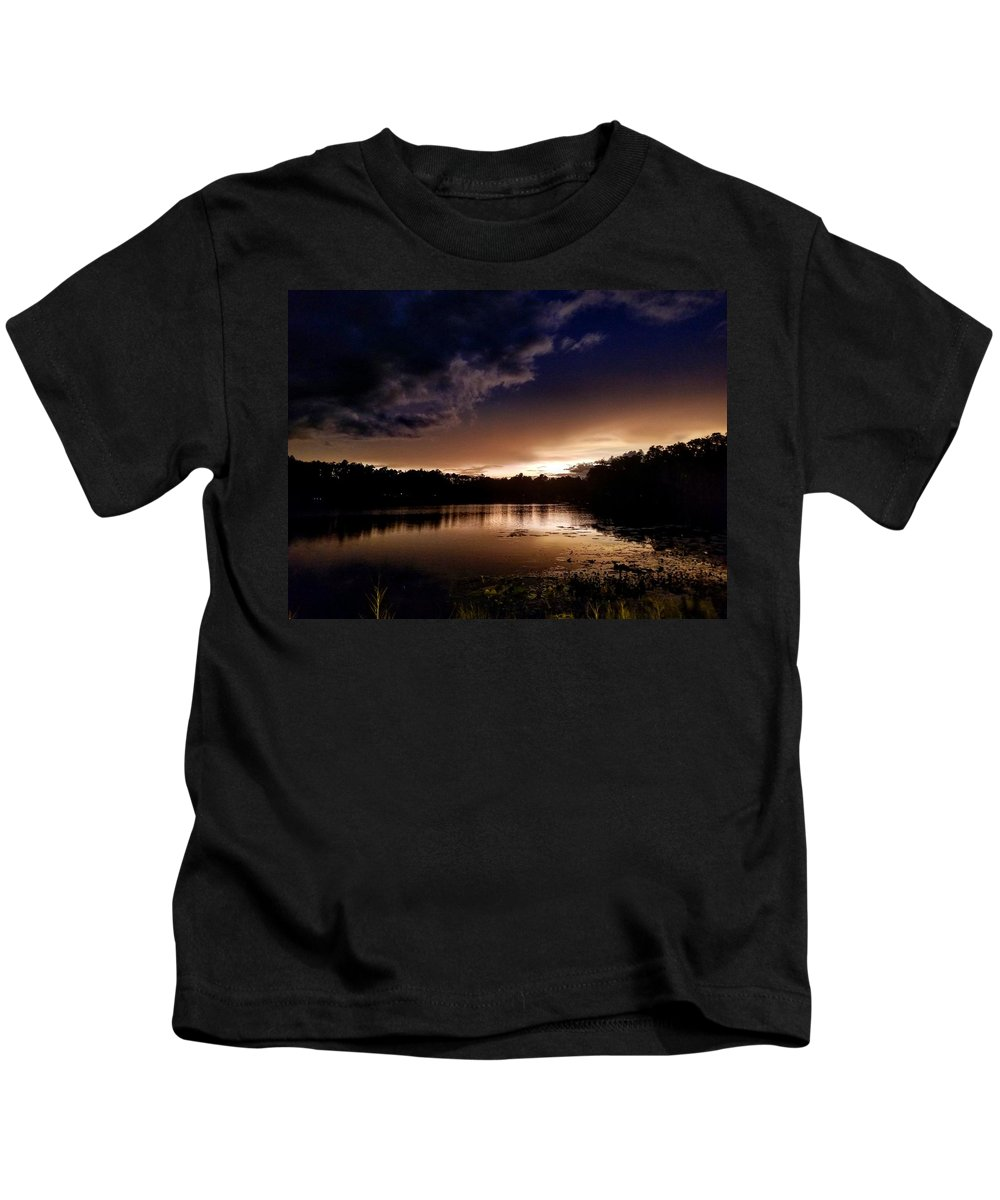 Sunset Kids T-Shirt featuring the photograph Dark Reflections by Shena Sanders