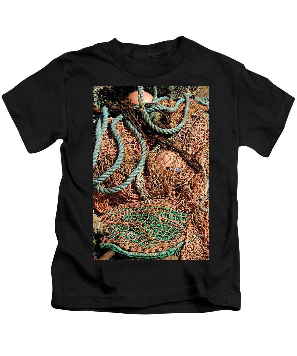 Nets Kids T-Shirt featuring the photograph Deep Sea Fishing Nets And Buoys by Victor Lord Denovan