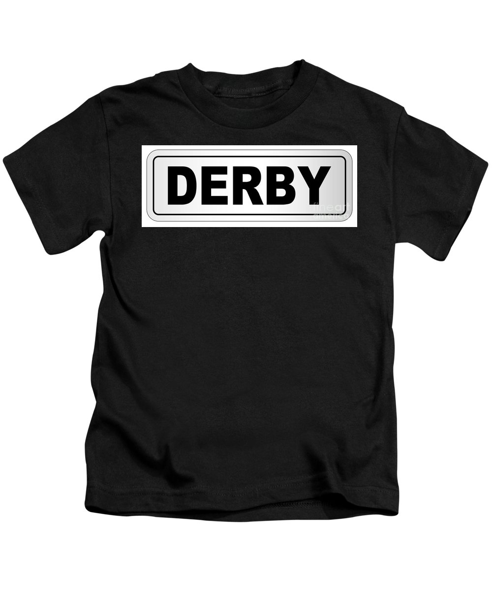 Derby Kids T-Shirt featuring the digital art Derby City Nameplate by Bigalbaloo Stock