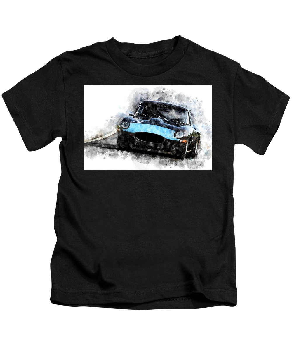 Racing Kids T-Shirt featuring the painting E-type Racing by Theodor Decker