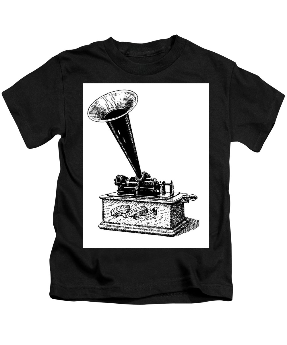 Phonograph. Edison. Edison's Phonograph. Wax Cylinder. Phonograph Illustration. Edison Illustration. Edison's Phonograph Illustration. Wax Cylinder Illustration. Kids T-Shirt featuring the drawing Edisons Baby by Dan Nelson