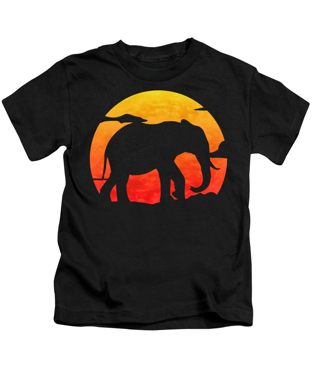Elephant Kids T-Shirt featuring the digital art Elephant Sunset by Filip Schpindel