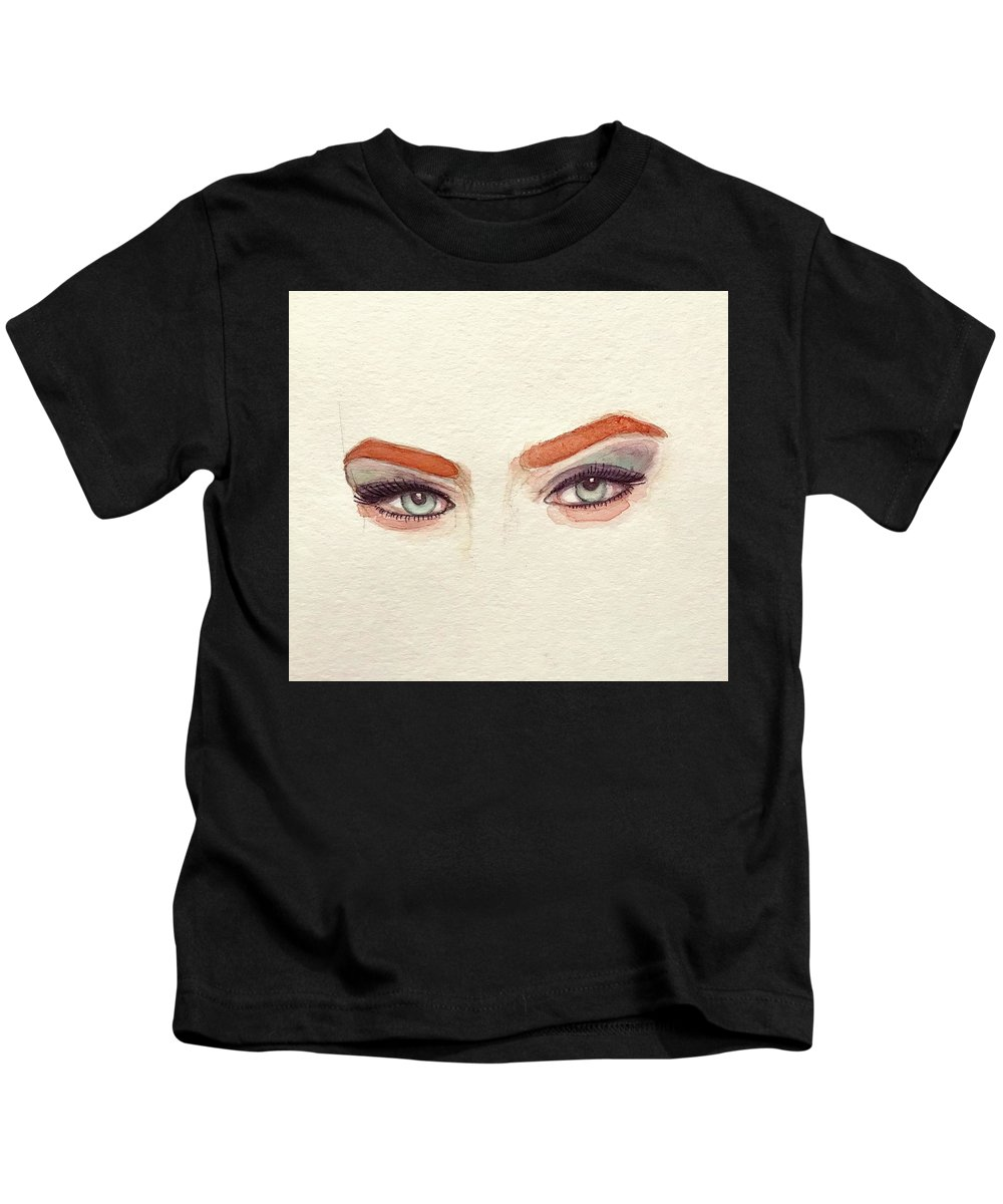 Eye Kids T-Shirt featuring the painting Makeup Art Painting by Mahsa Watercolor Artist