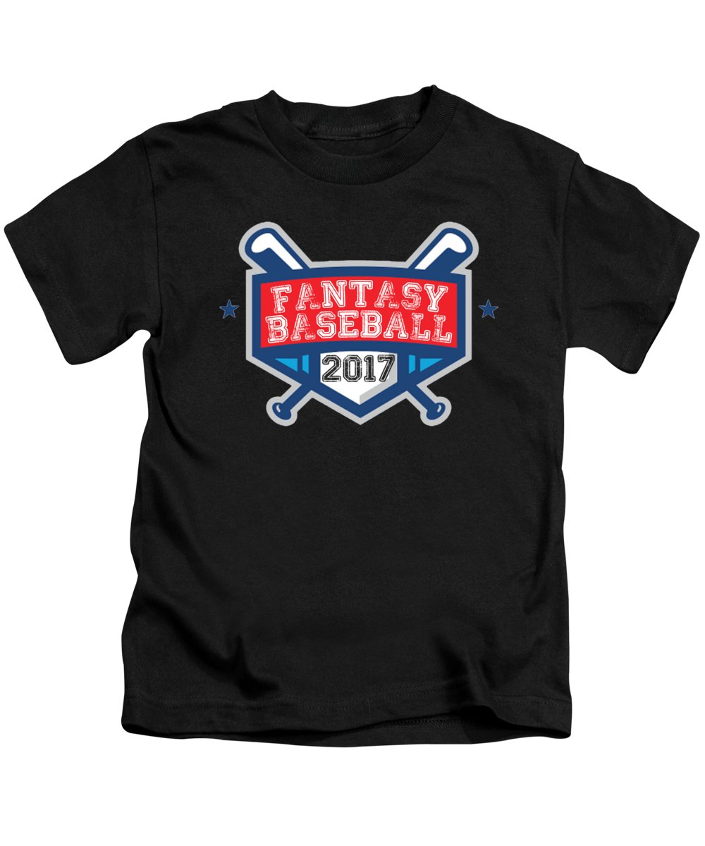 Fantasy-baseball Kids T-Shirt featuring the digital art Fantasy Baseball Design 2017 by Funny4You