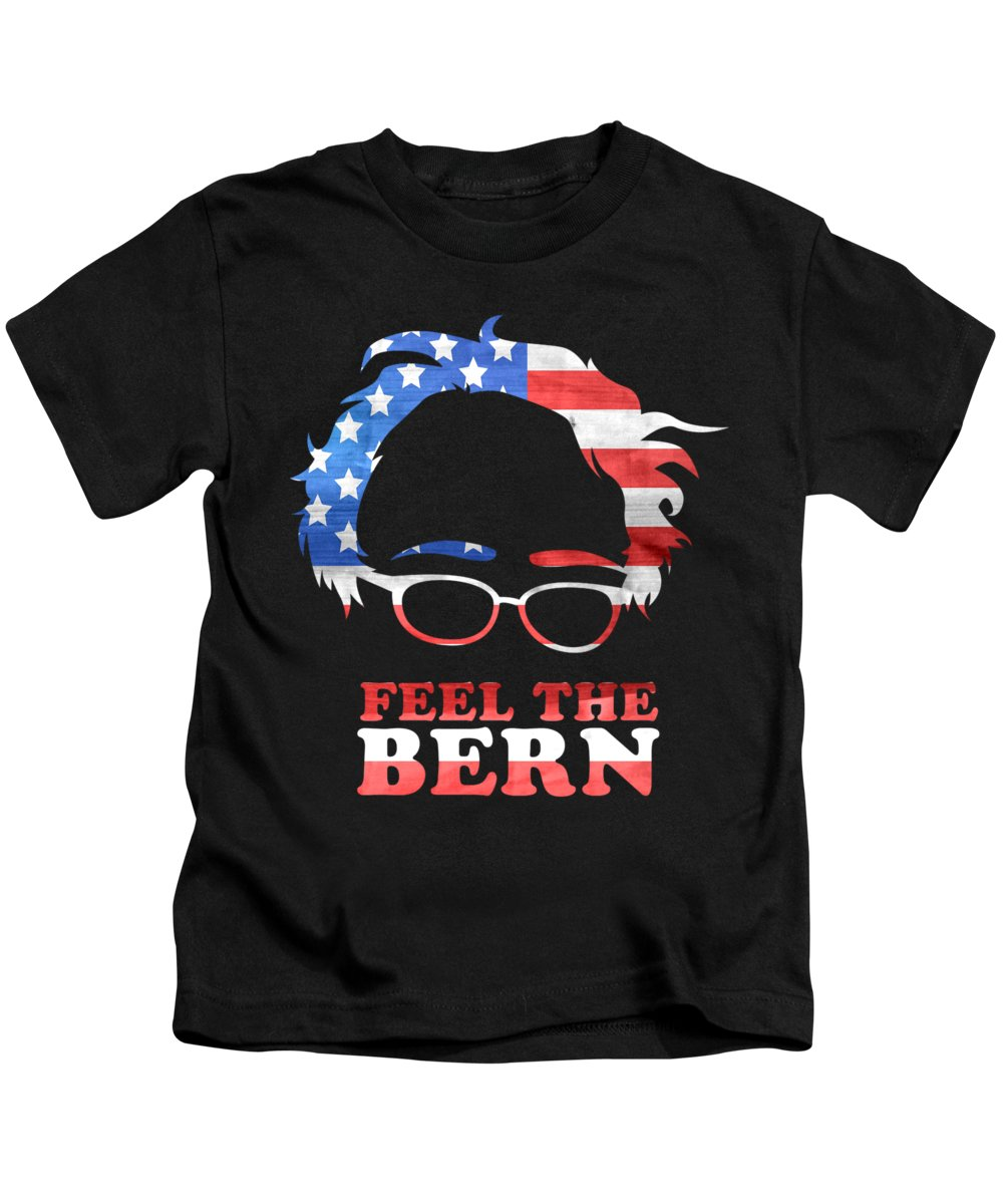 Bernie-2020 Kids T-Shirt featuring the digital art Feel The Bern Patriotic by Flippin Sweet Gear