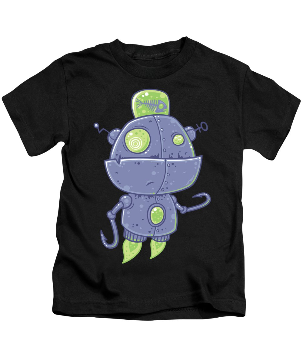 Fish Kids T-Shirt featuring the digital art Fishing Robot by John Schwegel