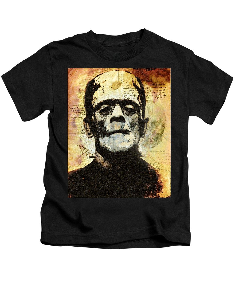 Monster Kids T-Shirt featuring the digital art Frankenstein's Notebooks by Alain Doyen
