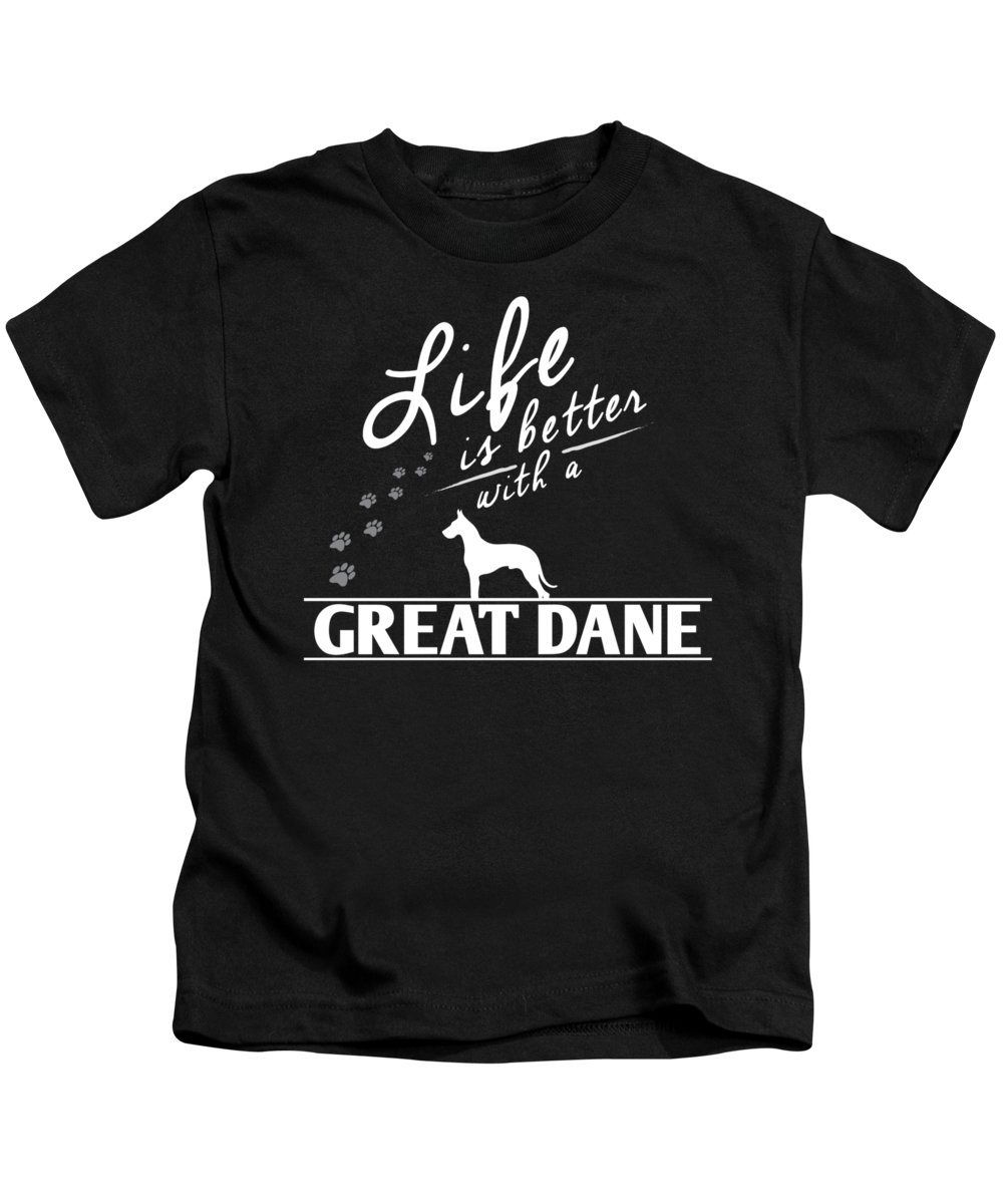 Great-dane Kids T-Shirt featuring the digital art Great Dane Design Life Is Better With A Great Dane Paws by Funny4You