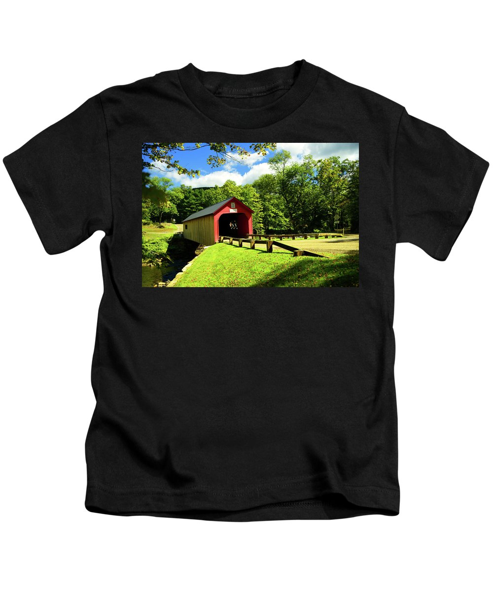 Bridge Kids T-Shirt featuring the photograph Green River Covered Bridge by Mike Martin