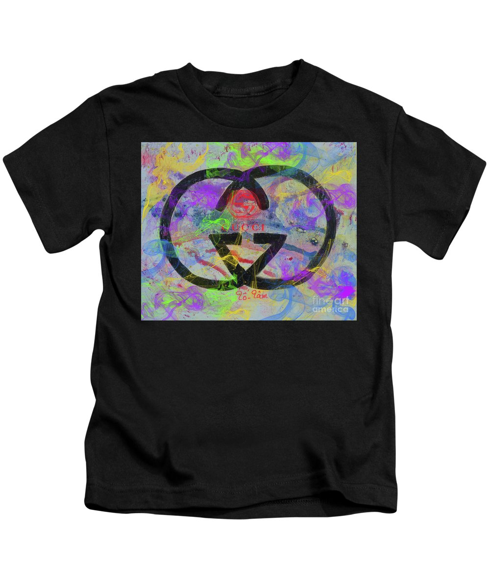 Gucci Kids T-Shirt featuring the painting Gucci Logo Abstract by To-Tam Gerwe