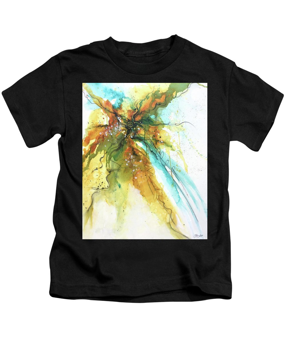 Abstract Kids T-Shirt featuring the painting I March To My Drum by Deborah Younglao