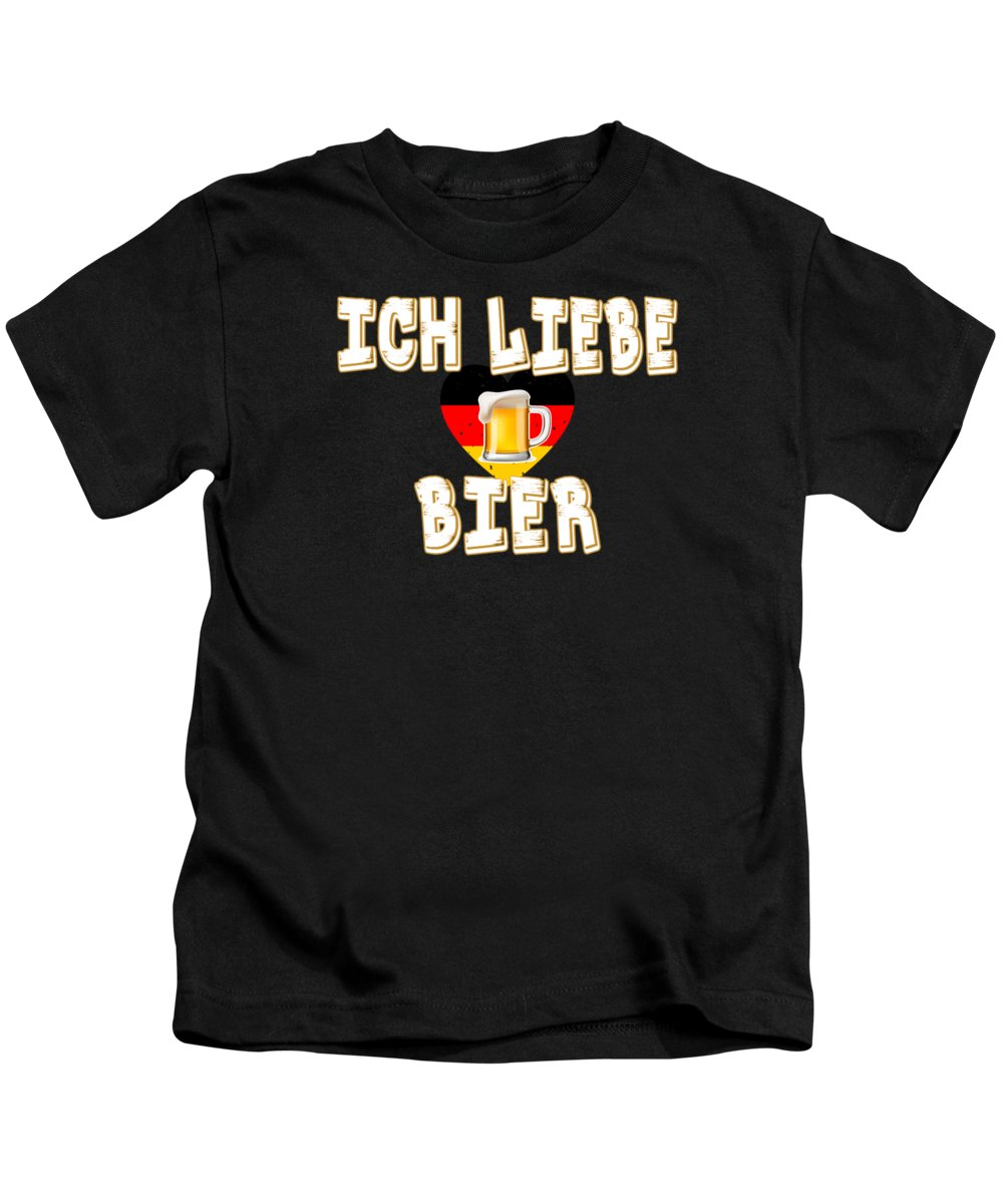 Oktoberfest Kids T-Shirt featuring the digital art Ich Liebe Bier Fun German Oktoberfest Beer Festival Design For Beer Lovers And Beer Drinkers by Shendon Whyte