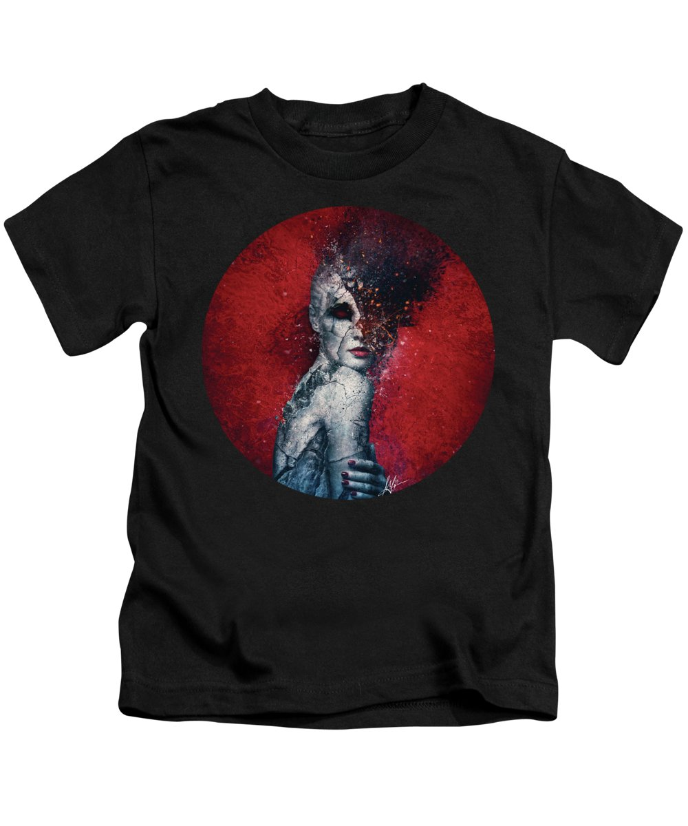 Red Kids T-Shirt featuring the digital art Indifference by Mario Sanchez Nevado