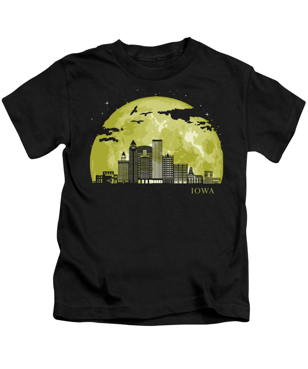 Iowa Kids T-Shirt featuring the digital art Iowa Moon Light Night Stars Skyline by Filip Hellman