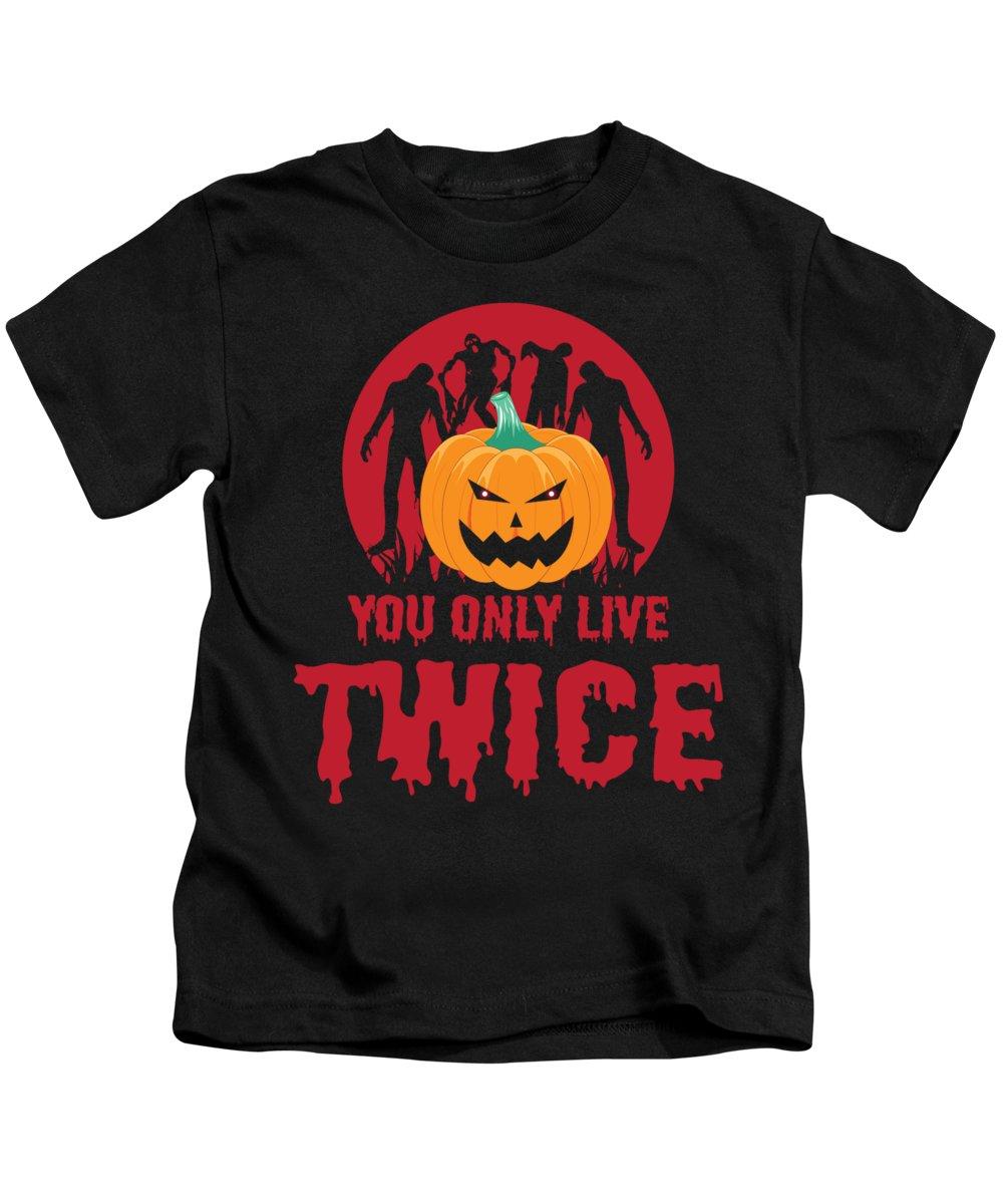 Halloween Kids T-Shirt featuring the digital art Jackolantern Scary Ghost Zombie Pumpkin Halloween Dark by Nikita Goel
