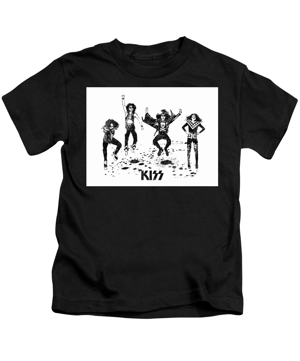 Kiss Kids T-Shirt featuring the painting Kiss Band Black And White Watercolor 02 by JESP Art and Decor