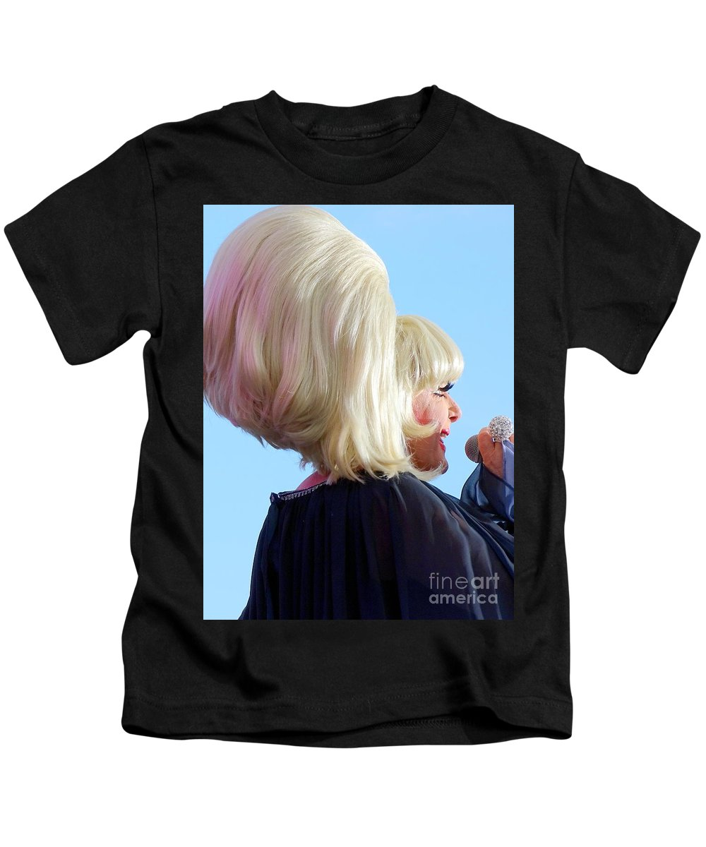 Lady Bunny Kids T-Shirt featuring the photograph Lady Bunny Wigstock 2018 by Ed Weidman