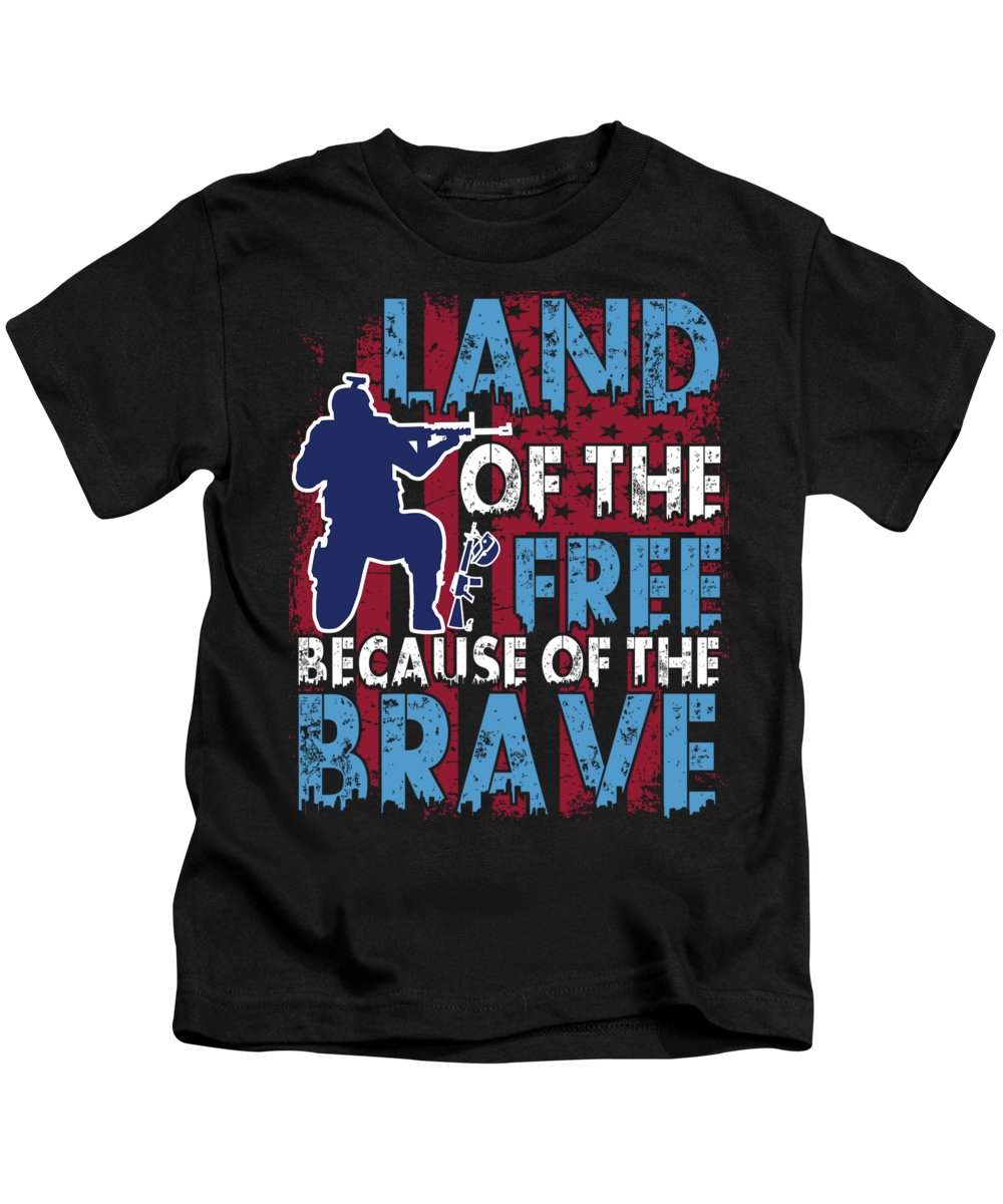 Thank-you Kids T-Shirt featuring the digital art Land Of The Free Because Of The Brave by Passion Loft