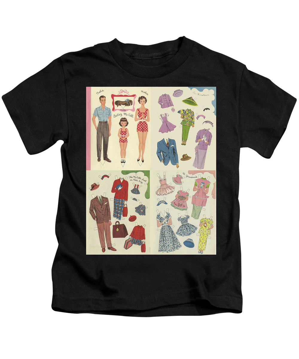 Rainbow Design Kids T-Shirt featuring the painting Little Golden Book Paper Doll Sees America by Arielle Gabriel