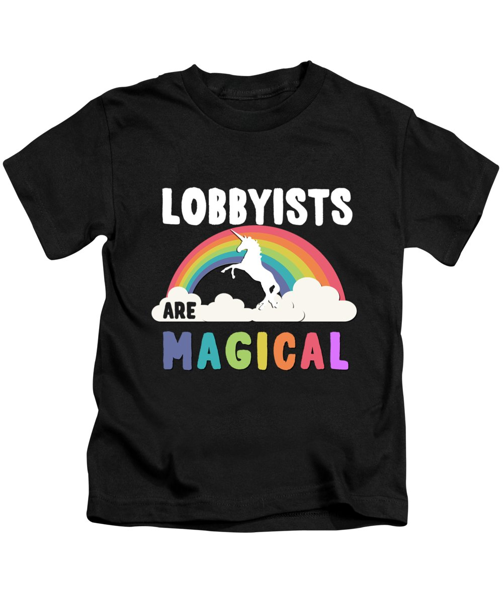 Unicorn Kids T-Shirt featuring the digital art Lobbyists Are Magical by Flippin Sweet Gear