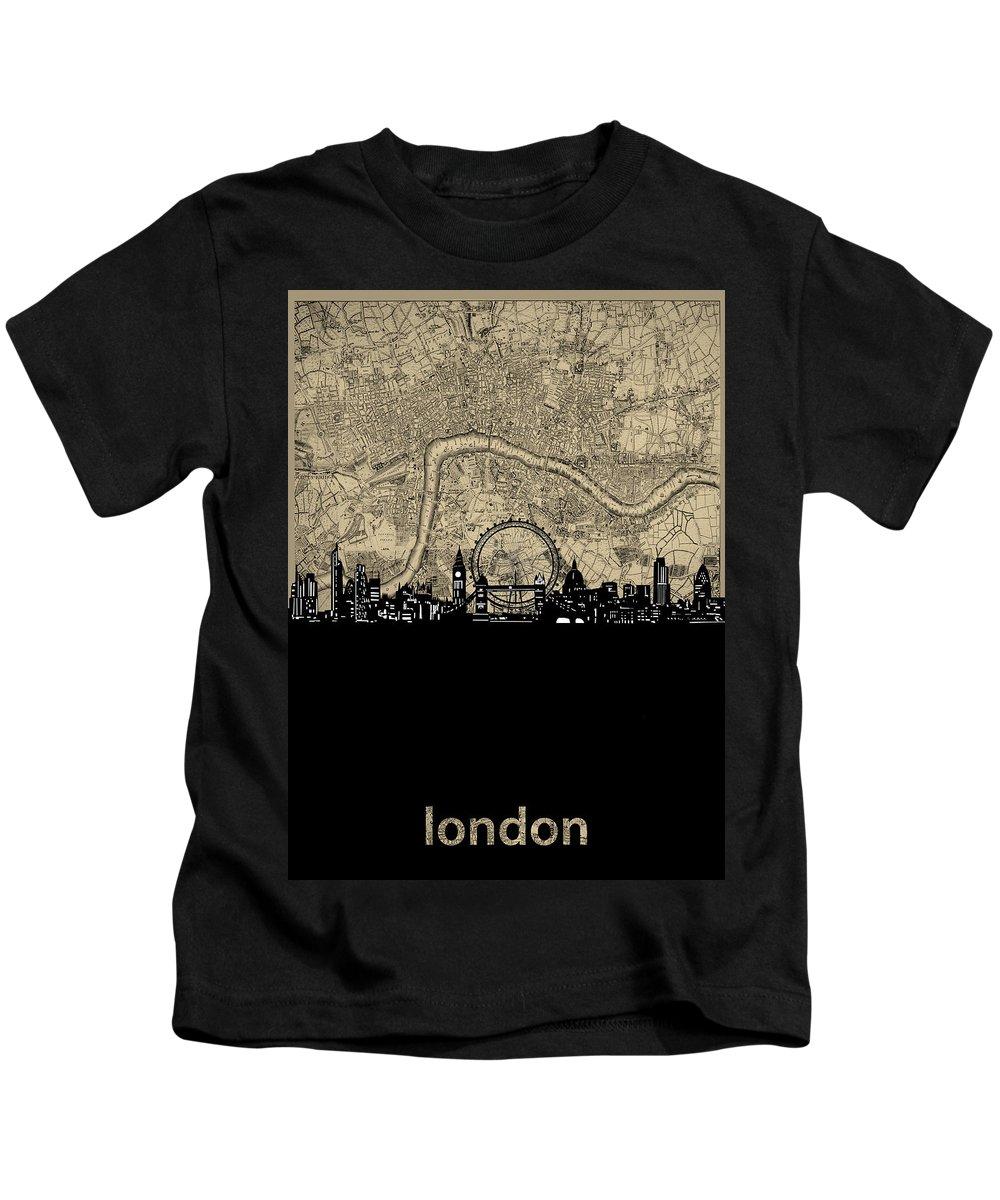 London Kids T-Shirt featuring the digital art London Skyline Map by Bekim M