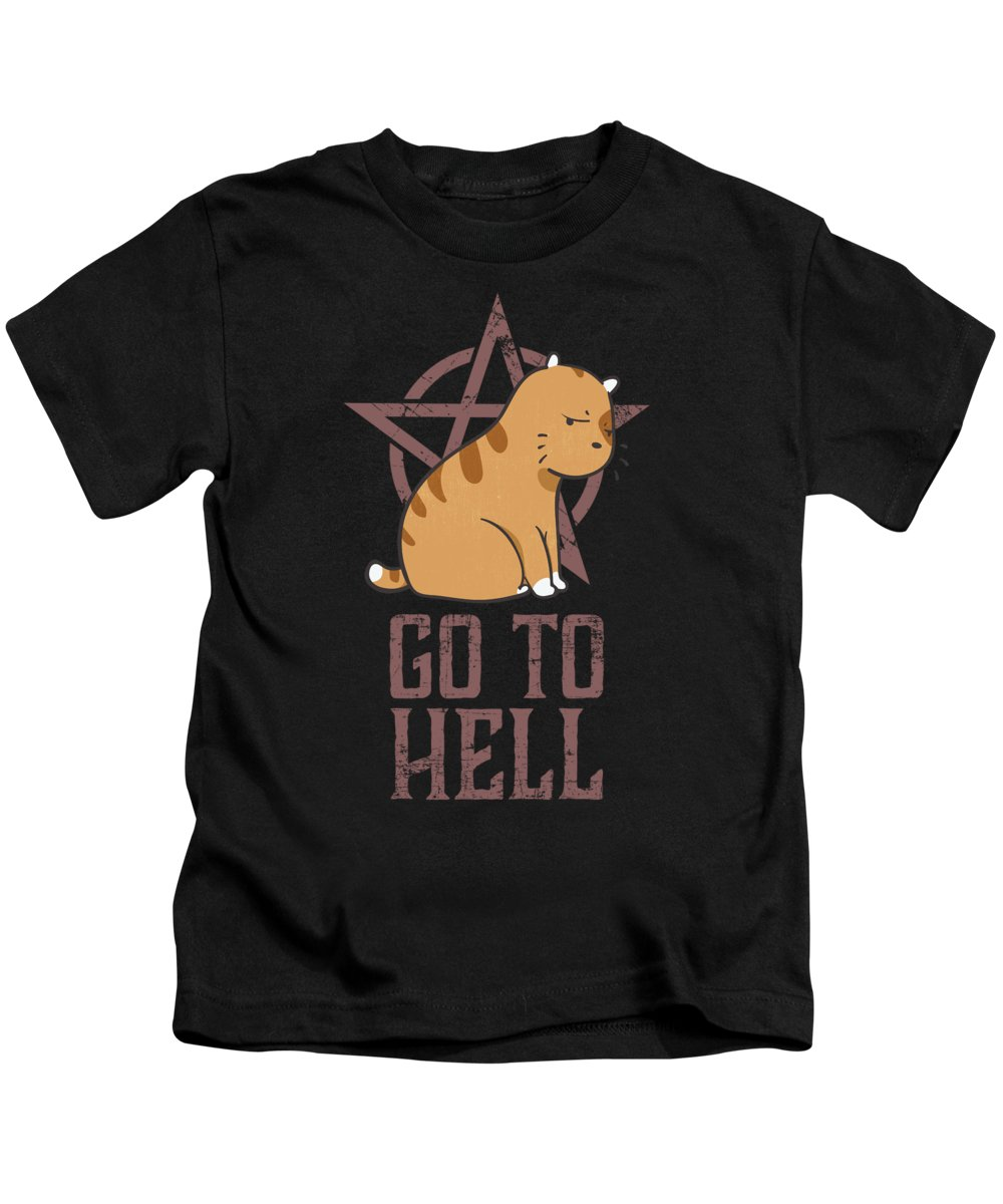 Halloween Kids T-Shirt featuring the drawing Metalhead Cats Go To Hell Tshirt by Noirty Designs
