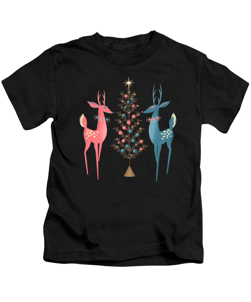 Painting Kids T-Shirt featuring the painting Midcentury Pink And Aqua Holiday At The North Pole by Little Bunny Sunshine