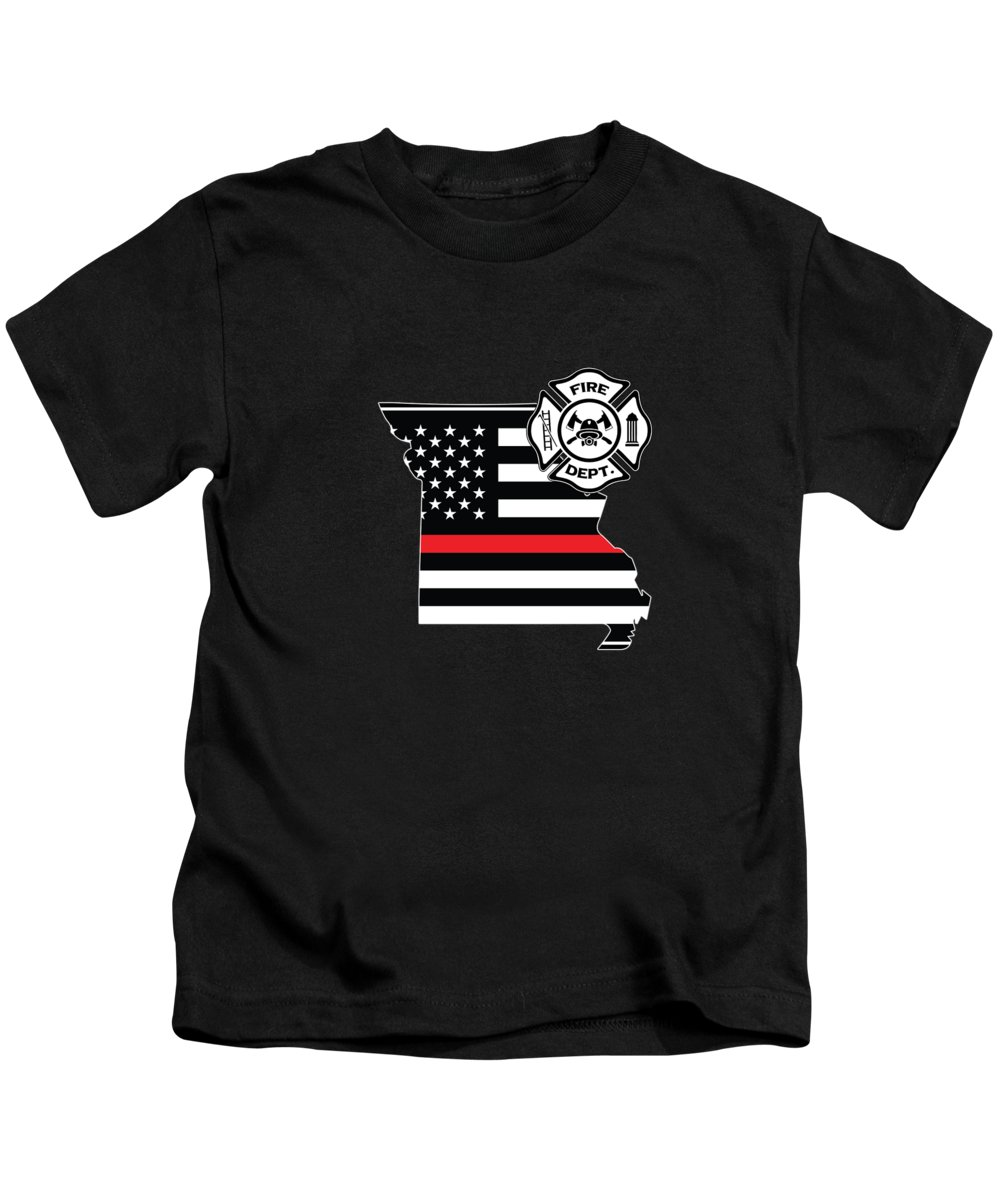 Firefighter-appreciation Kids T-Shirt featuring the digital art Missouri Firefighter Shield Thin Red Line Flag by Jean-Baptiste Perie