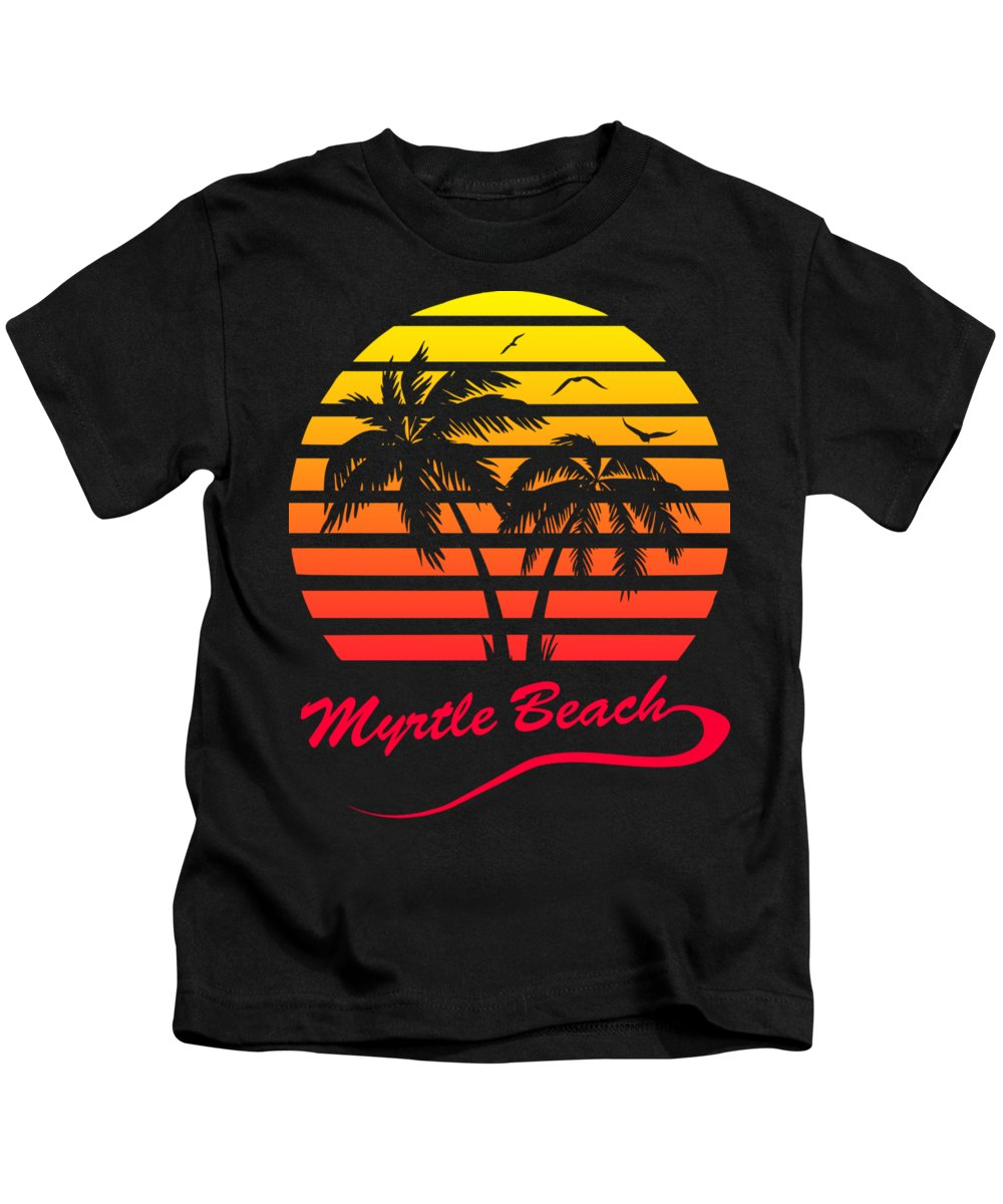 Myrtle Beach Kids T-Shirt featuring the digital art Myrtle Beach Sunset by Filip Schpindel