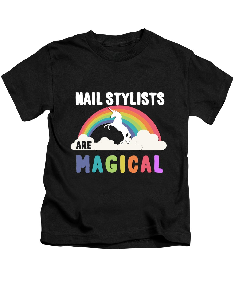 Unicorn Kids T-Shirt featuring the digital art Nail Stylists Are Magical by Flippin Sweet Gear