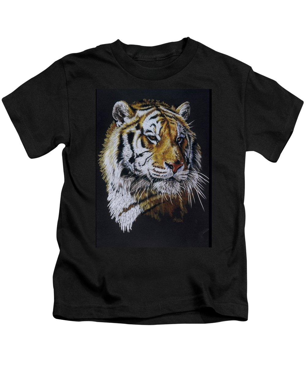 Panthera Kids T-Shirt featuring the drawing Nanook the Tiger by Barbara Keith