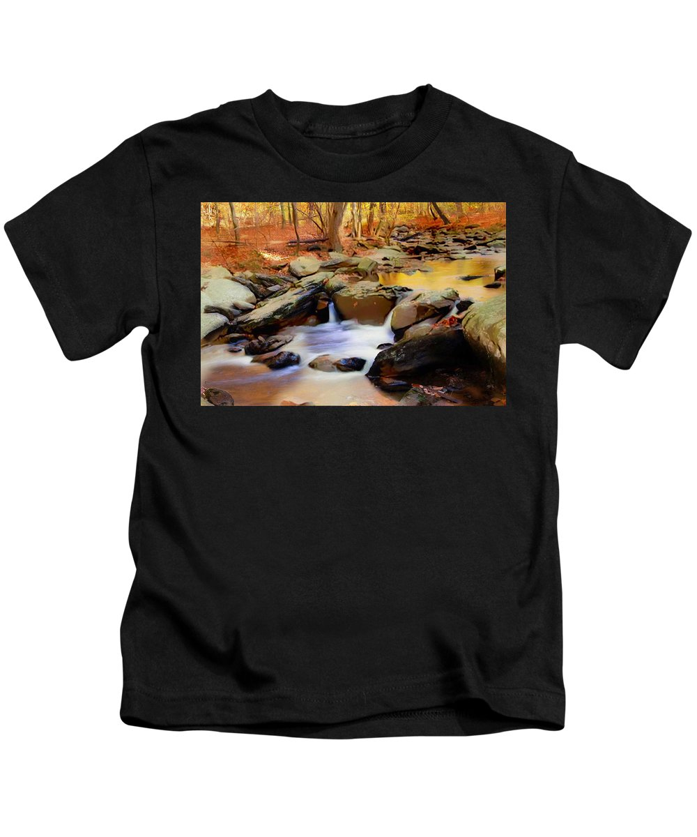 Nature Kids T-Shirt featuring the mixed media New Jersey Pines by Jas Stem