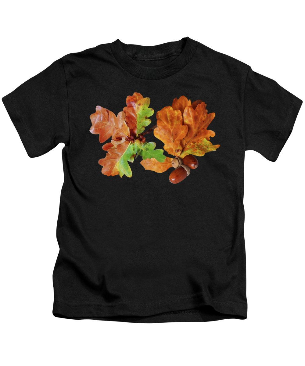 Autumn Leaves Kids T-Shirt featuring the photograph Oak Leaves And Acorns On Black by Gill Billington
