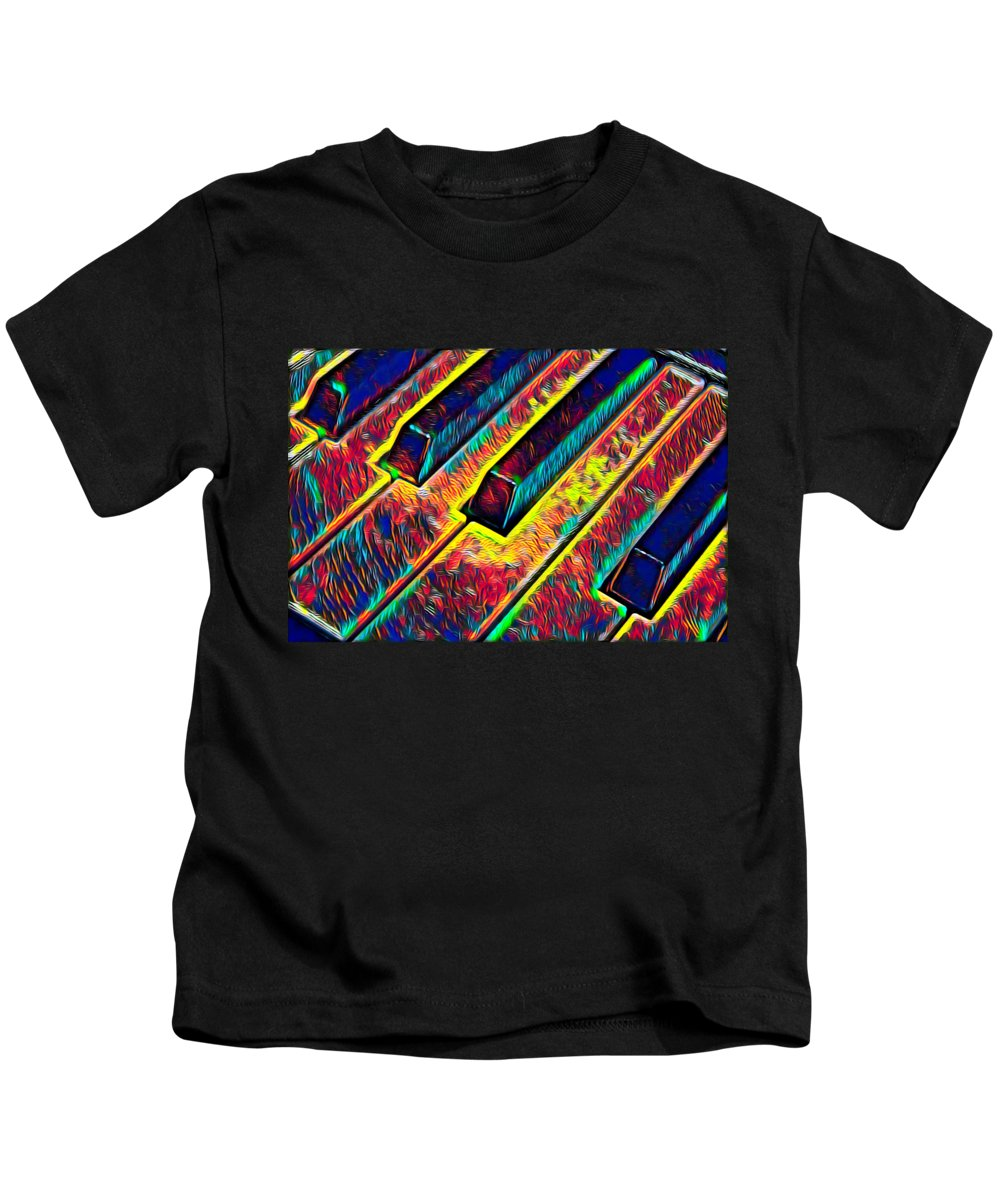 Cool Kids T-Shirt featuring the digital art Piano Keys Musican Player Music Notes Gift Color Design by Super Katillz