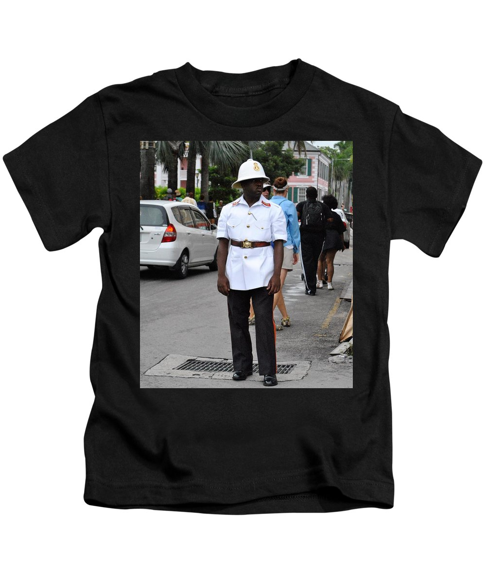 Police Kids T-Shirt featuring the photograph Police Officer by TAR Black Artistic Photography