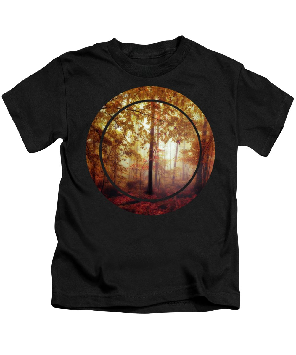 Germany Kids T-Shirt featuring the photograph Rain Whispers - Misty Fall Forest by Dirk Wuestenhagen