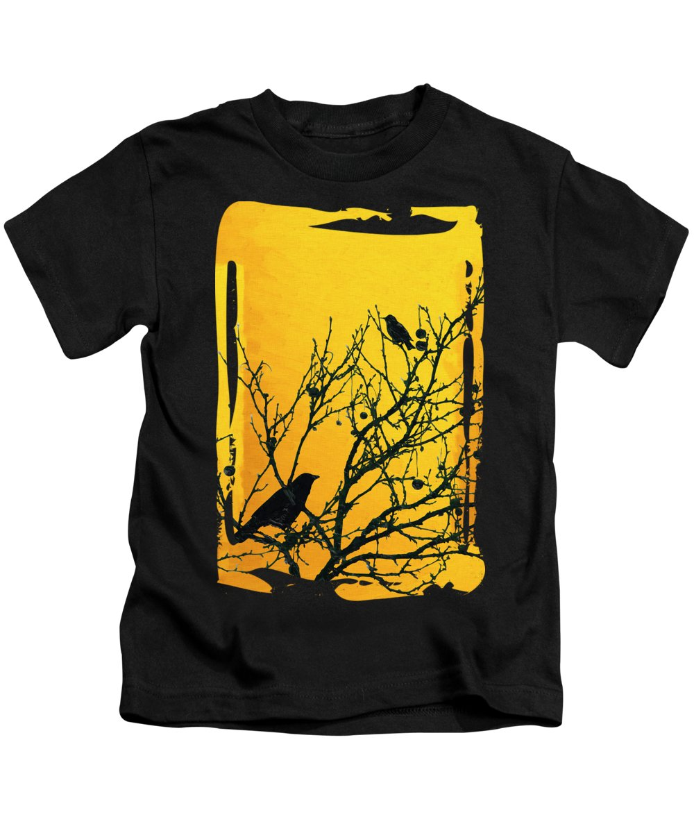 'contemporary Neo Expressionism' Collection By Serge Averbukh Kids T-Shirt featuring the digital art Raven - Black Over Yellow by Serge Averbukh