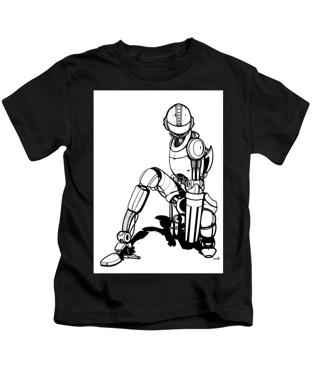 Robot Kids T-Shirt featuring the drawing Robot by Aleksandra Tot-Bulajic