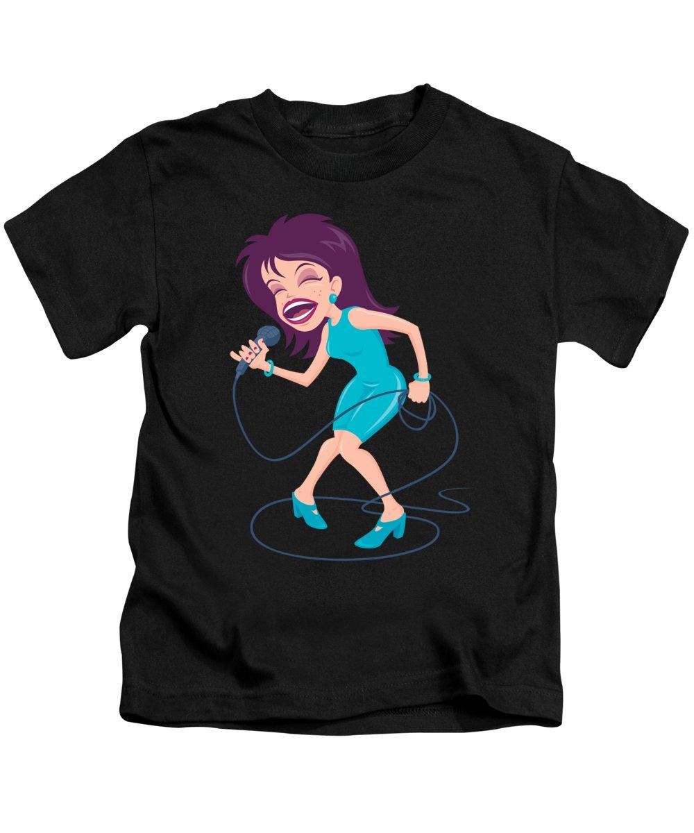 Artist Kids T-Shirt featuring the digital art Singing Diva Female Pop Star by John Schwegel