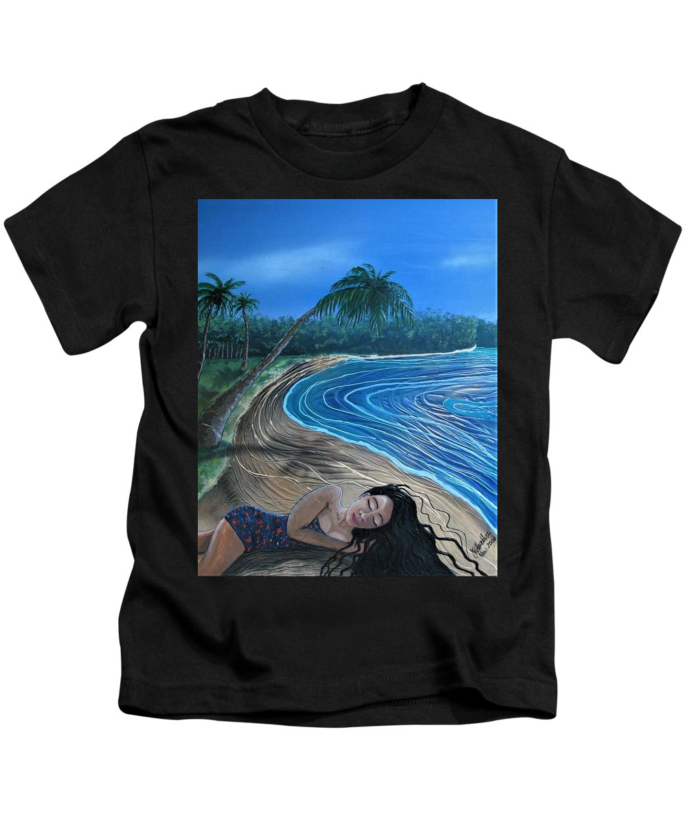 Palm Tree Kids T-Shirt featuring the painting Sleeping Beauty by Joan Stratton