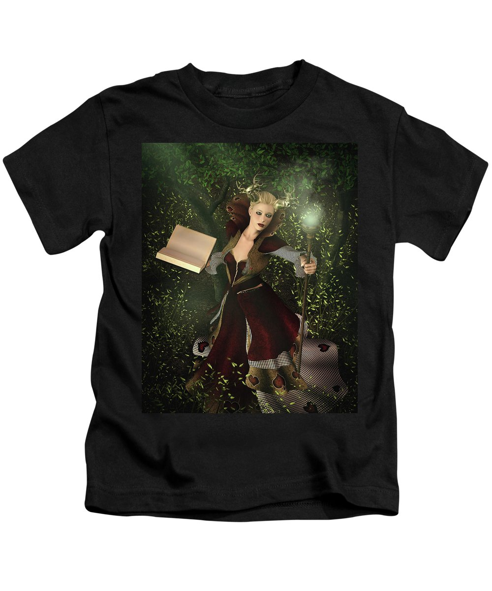 Sorceress Kids T-Shirt featuring the digital art Sorceress And Magic by Angelo Arcamone