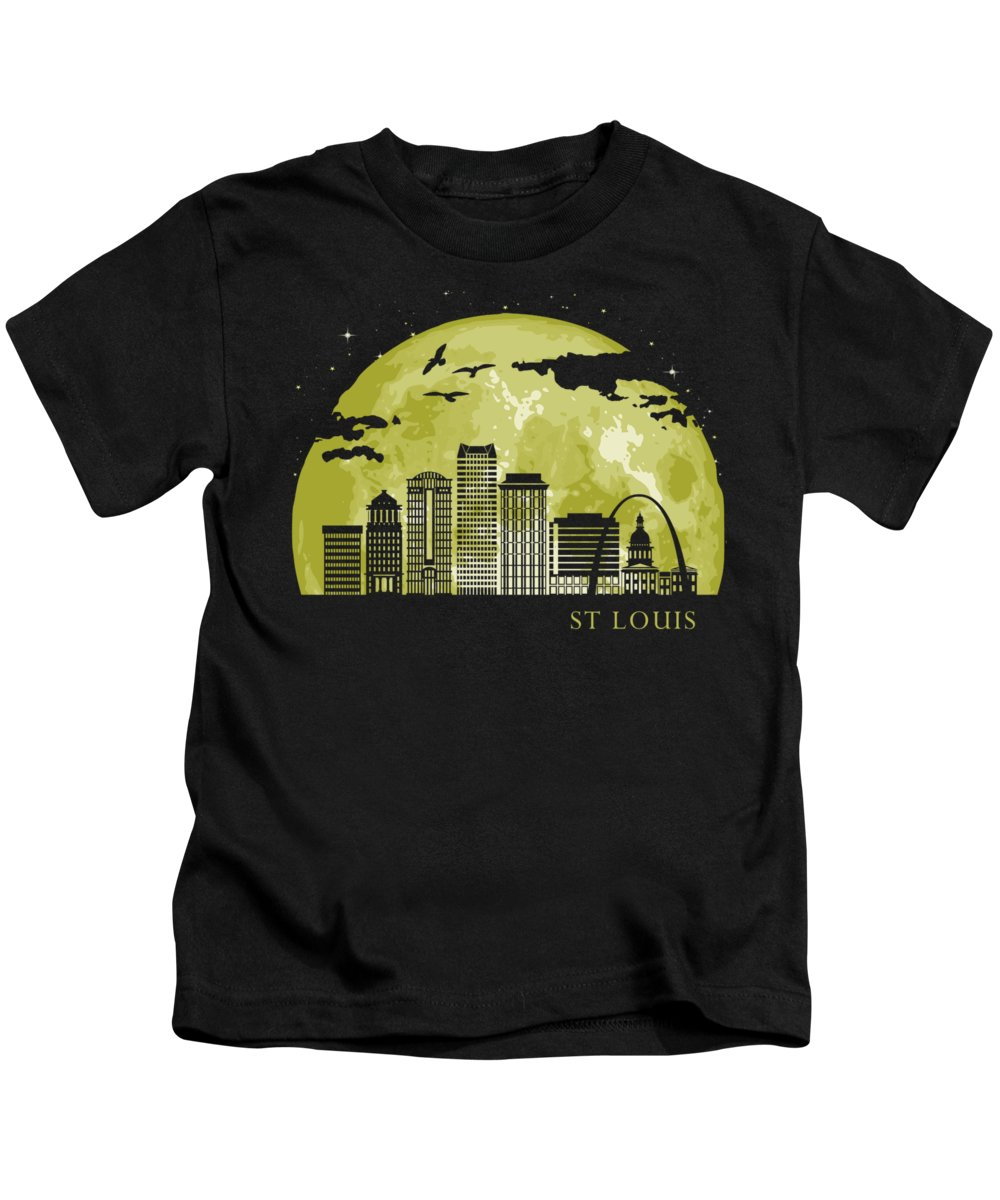 Missouri Kids T-Shirt featuring the digital art St Louis Moon Light Night Stars Skyline by Filip Hellman