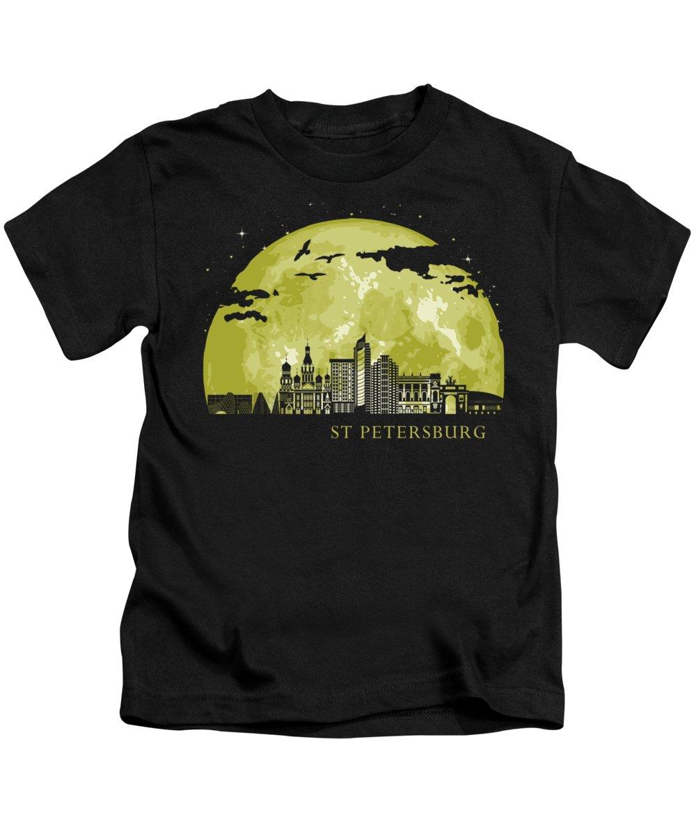 Cccp Kids T-Shirt featuring the digital art St Petersburg Moon Light Night Stars Skyline by Filip Hellman