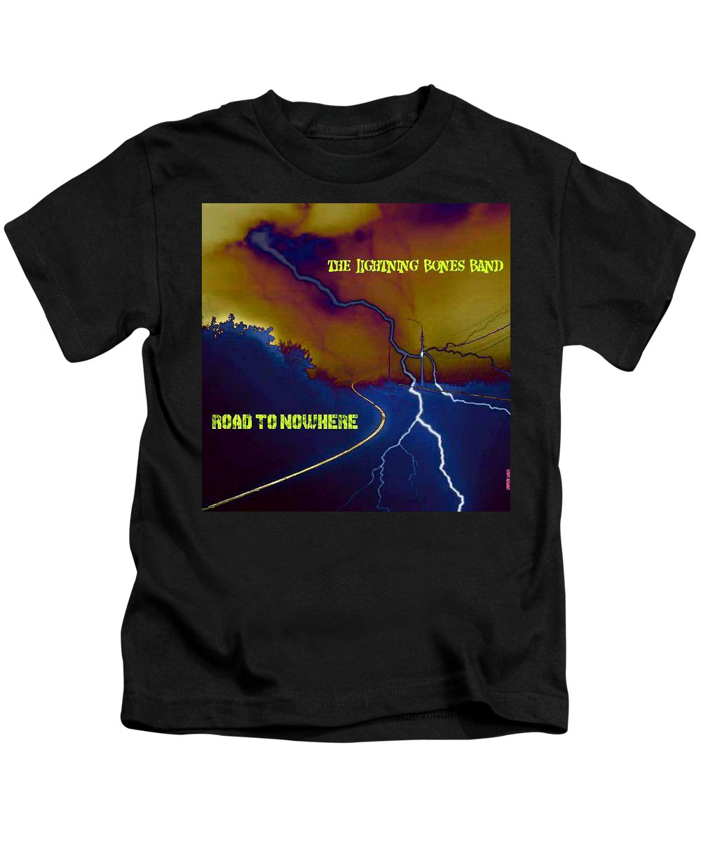 Submitted Art Work For The Lightning Bones Band Kids T-Shirt featuring the digital art Submitted Art Work For The Lightning Bones Band by Tony Adamo