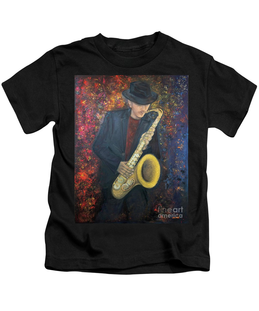 Saxophone Golden Old Musical Instrument Man Young Musician Hand Hands Hat Black Suit Color Colour Colours Colors Colorful Colourful Vivid Red Blue Yellow Kids T-Shirt featuring the painting Symphony Of Colours by Anita Raunio