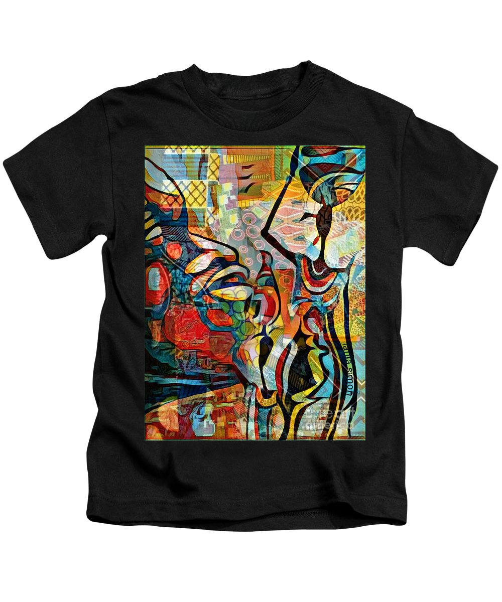 Kids T-Shirt featuring the mixed media The Crush by Fania Simon