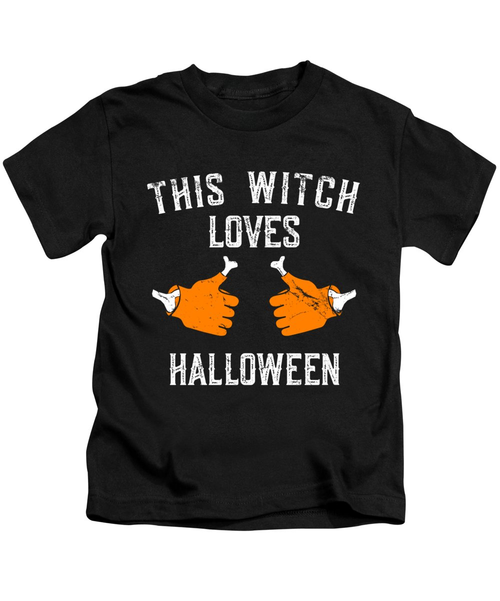 Cool Kids T-Shirt featuring the digital art This Witch Loves Halloween by Flippin Sweet Gear