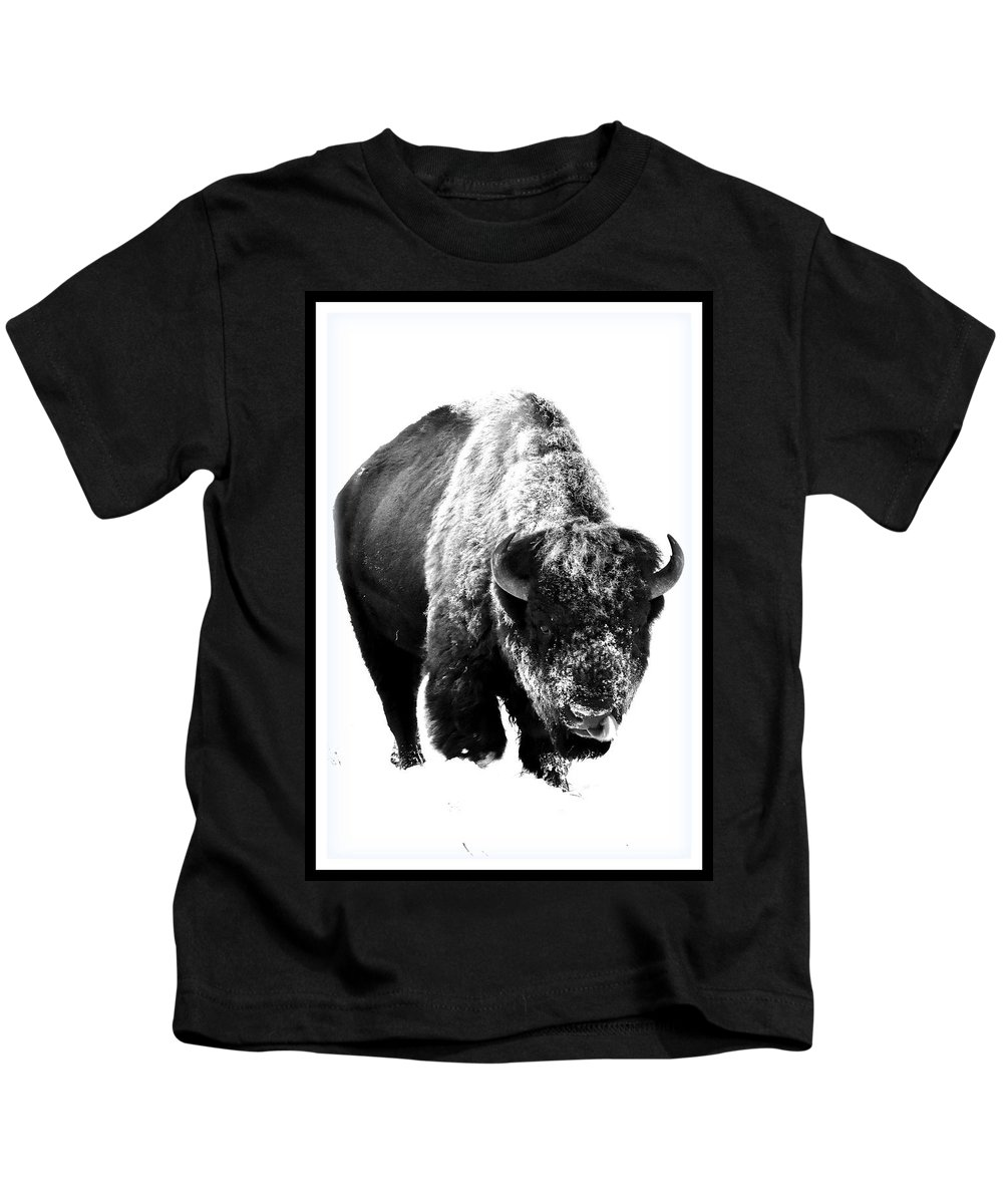 Black And White Kids T-Shirt featuring the photograph Through The Snow by Michael Morse