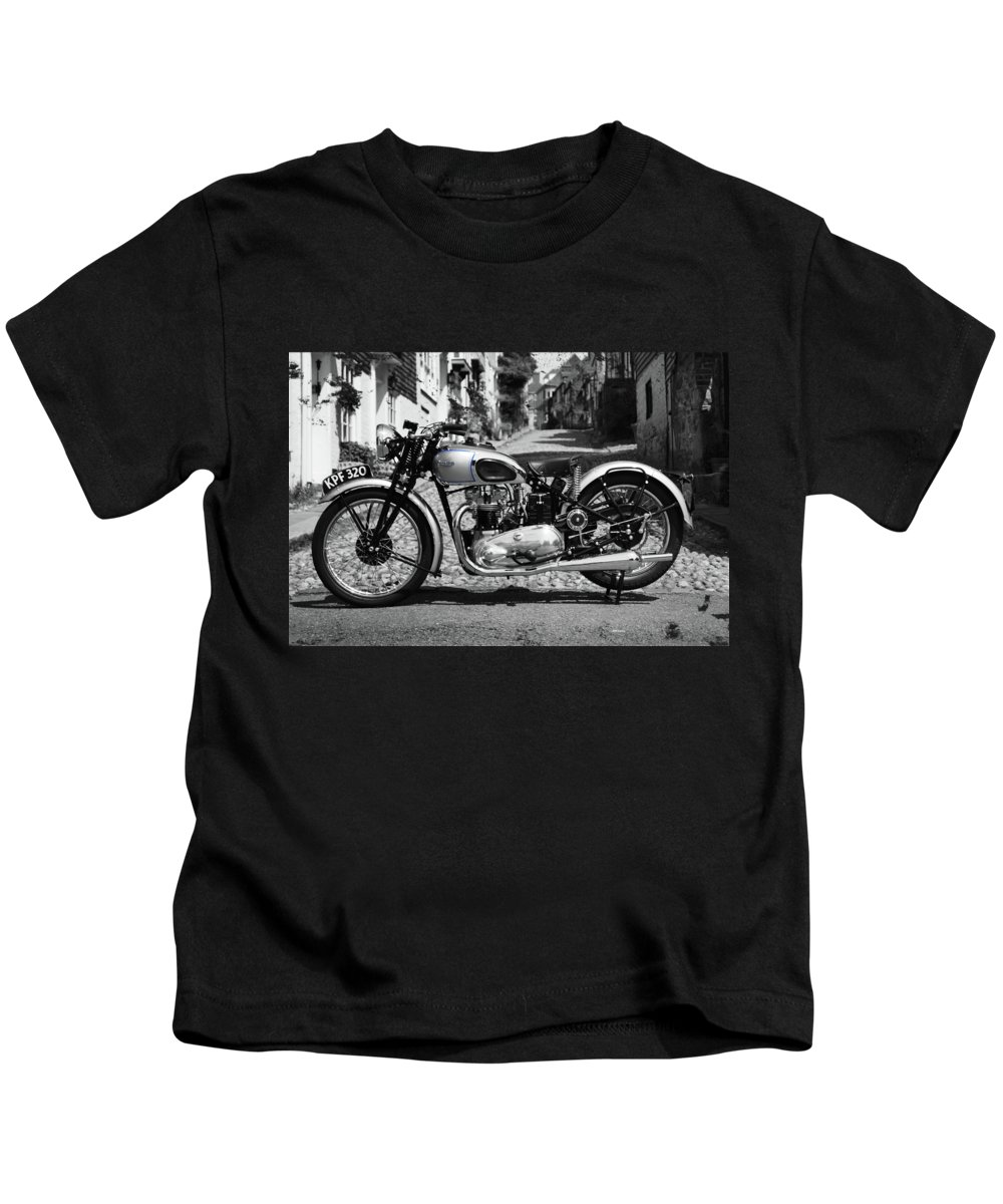 Triumph Tiger Kids T-Shirt featuring the photograph Tiger T100 Vintage Motorcycle by Mark Rogan