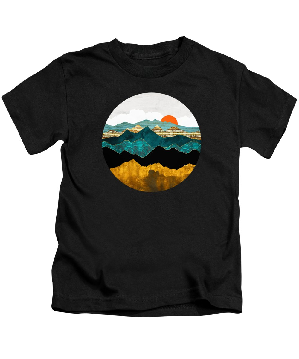 Digital Kids T-Shirt featuring the digital art Turquoise Vista by Spacefrog Designs